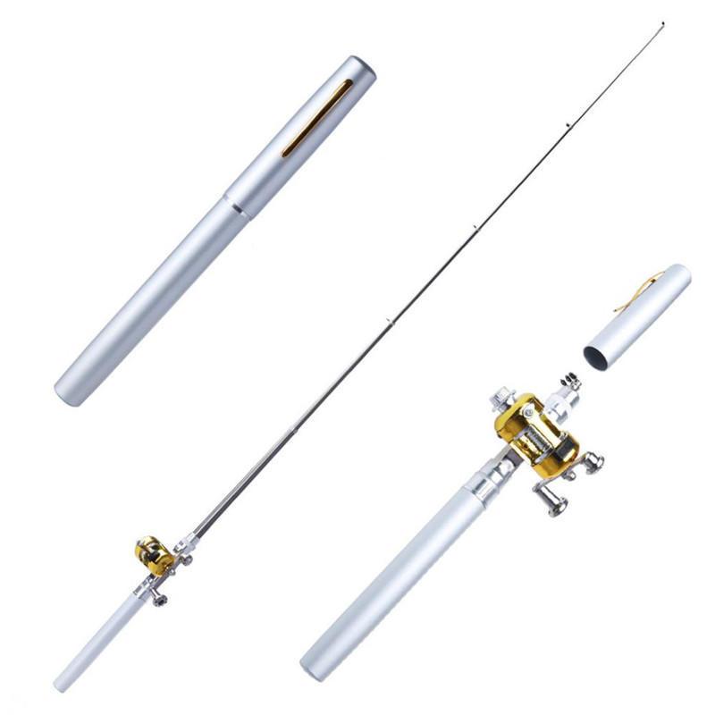 Mini Telescopic Portable Pocket Fish Pen Alloy Fishing Rod Pole Reel Xmas Gift