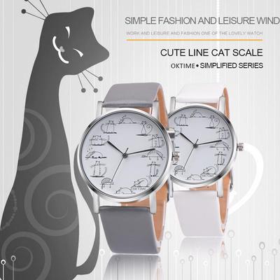 Watch Retro Design Lovely Cartoon Cat Leather Band Analog Alloy Quartz Wrist Watch