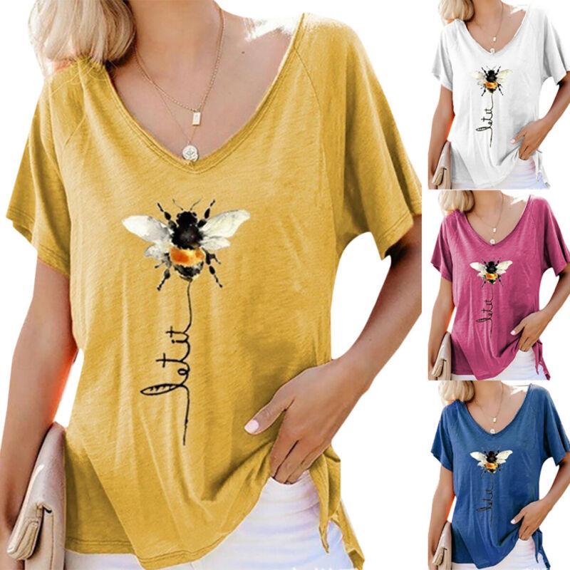 Женщины V Шеи Пчела Печать Смешные блузка Топы Baggy Короткие рукава случайные летние рубашки – купить по низким ценам в интернет-магазине Joom