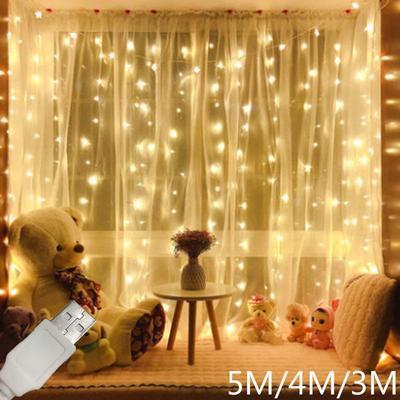USB LED Curtain Light Copper Wire Fairy Light Garland Garden Wedding Decoration String Lights