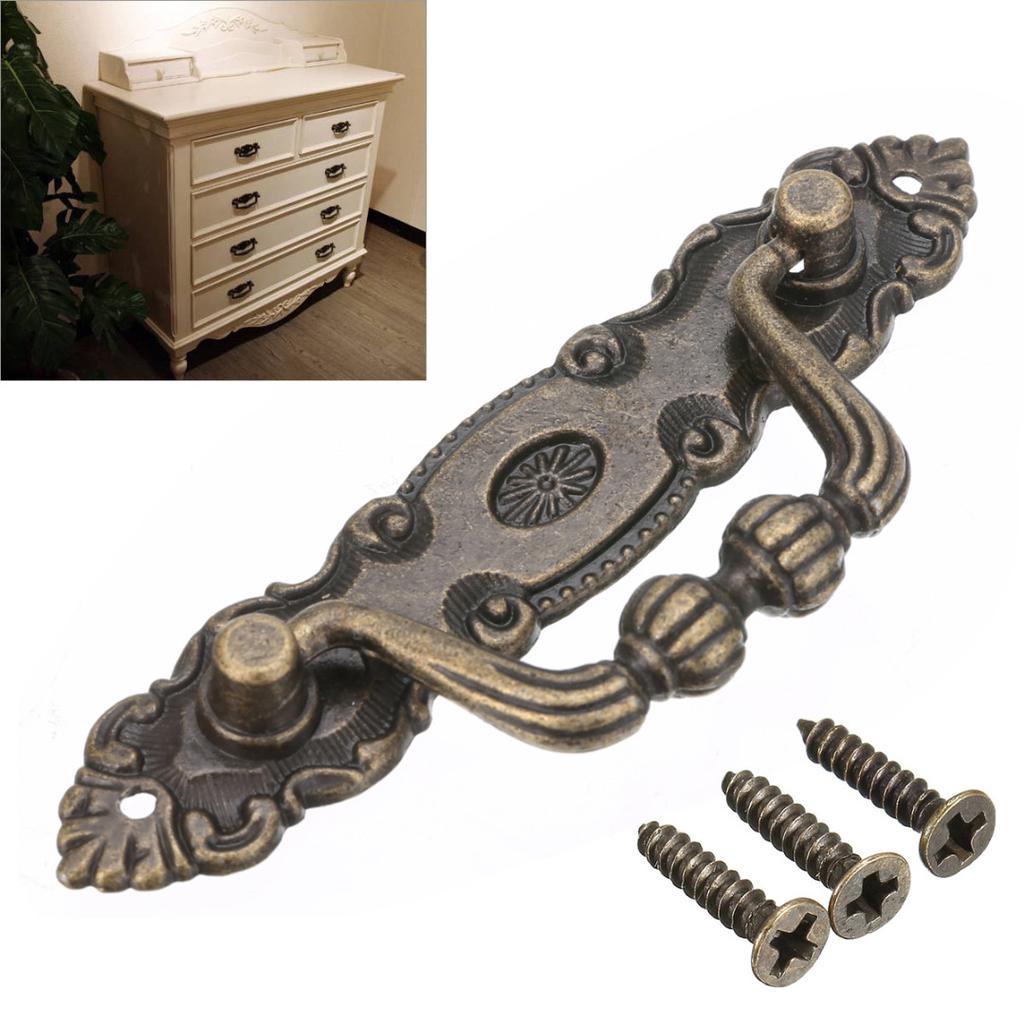 Bronze and ceramic Cabinet Dresser Drawer Pull Knobs-Set Of 7.
