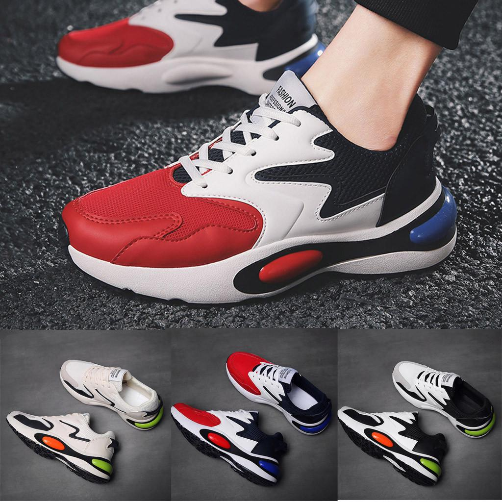 Mens Lace up Fashion Athletics Sneakers Wedge Round toe Mesh Breathable Trainers