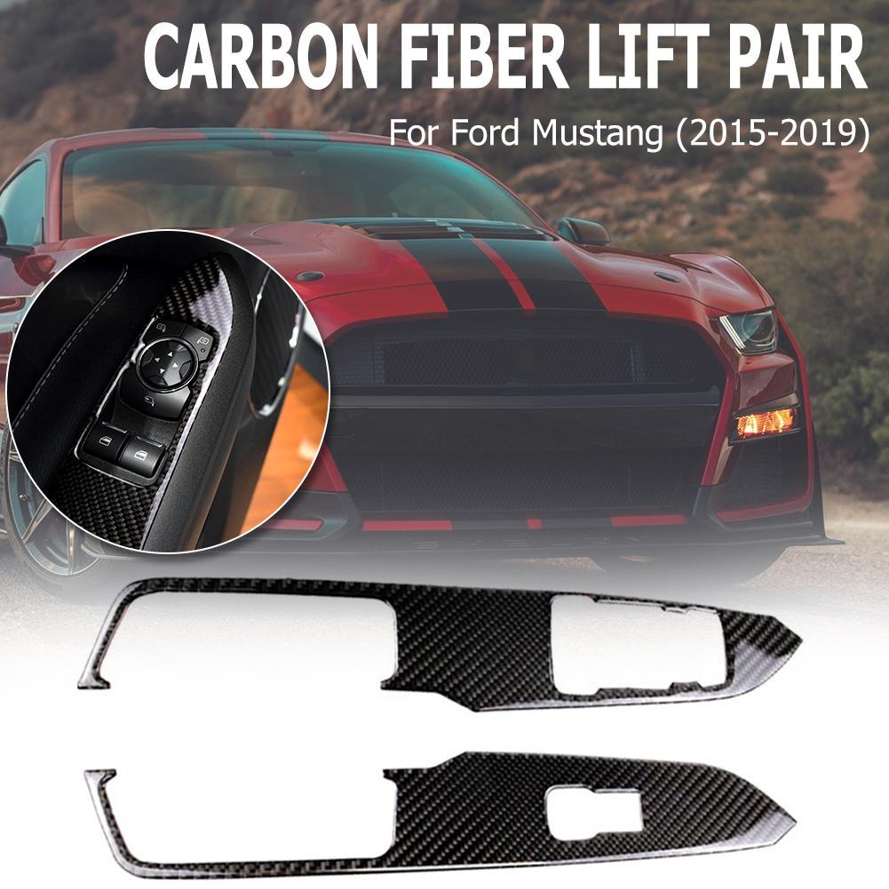 For Mustang 2015-2019 Carbon Fiber Car Window Control Switch Panel Stickers