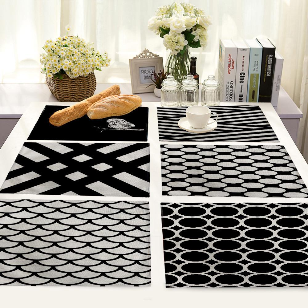 Marble Pattern Placemat Stripe PU Table Mat Non-Slip Party Home Decor Mats Hot