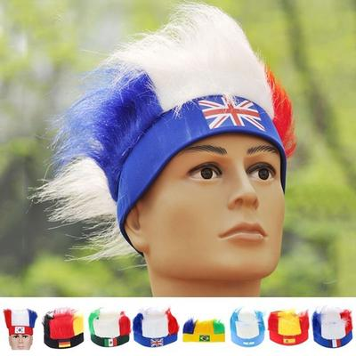 66ac21a3c73 15 types Party National Flag Soccer Fans Wig Headband World Cup Cheering Hat  Football Hairpiece Olym