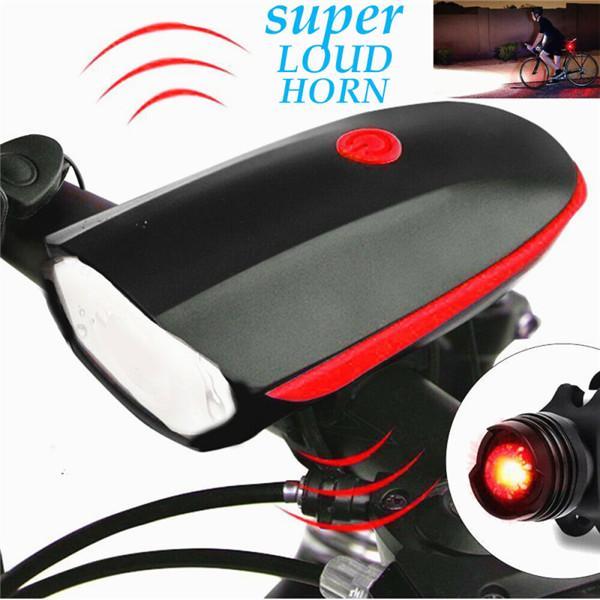 Bicycle Bike Front Light Headlight /&Taillight USB Cycling LED Lamp Set W//Horn US