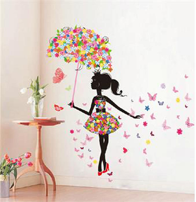 Details about  /Flower Girl With Hors Wall Sticker Mural Decals Vinyl Art Living Room Decors