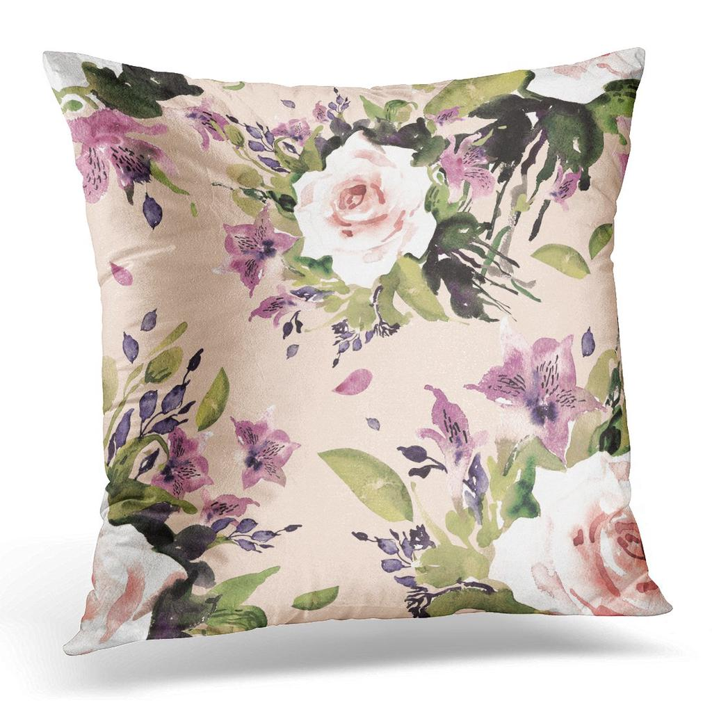 Colorful Floral Watercolor Beautiful Bouquet 7 Vintage Retro Green Abstract Pillow Case Cover 20x20inch 50x50cm Buy At A Low Prices On Joom E Commerce Platform