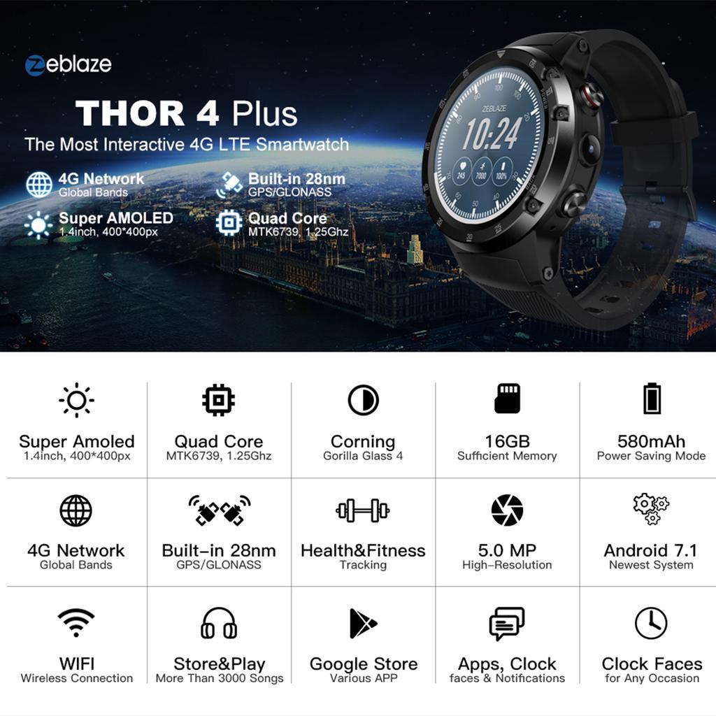 Zeblaze THOR 4 Plus 1 4 Inch AMOLED Heart Rate Monitor Blood Presure Smart  Watch Sport Wristband