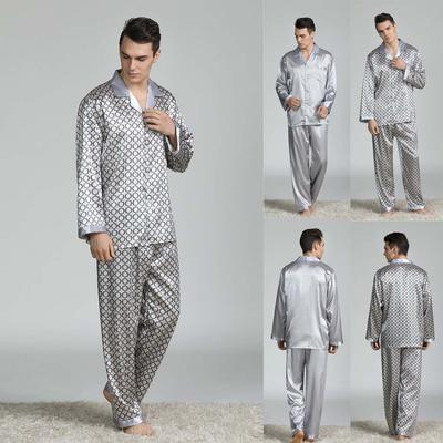 Mens Silk Pajamas Suit Long-Sleeved Print Button Breathable Comfortable Foreign Trade Home Service Set