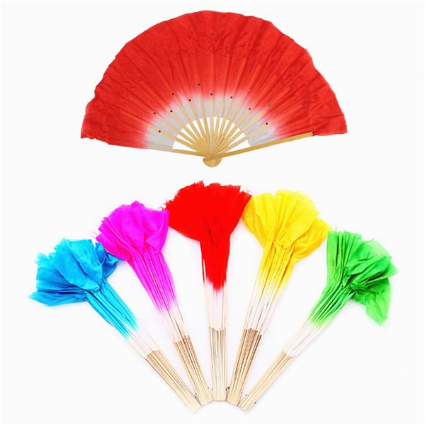 Traditional Chinese Folk Rose Red Silk Fan Bamboo Short Fan for Belly Dancing