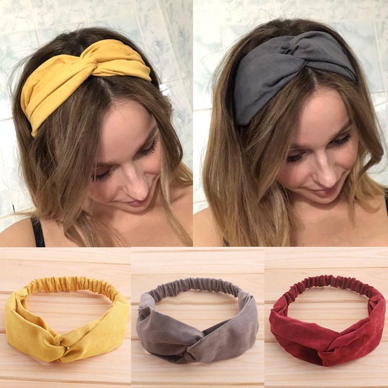 Твист упругие оголовье для женщин Бохо Чиффон Узел волос повязка Повязка Цветок Turban Headwrap