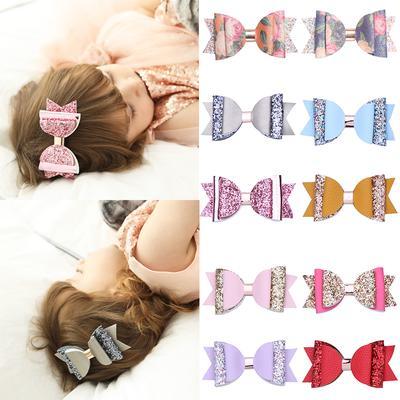 Girls Hair Snap Clip Accessories Shiny Metallic Bow Sleepies Hairclip Kid Gift