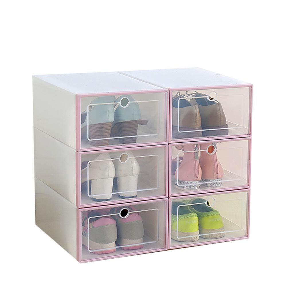 20 Pcs Foldable Plastic Transparent Drawer Case Shoe Storage Organizer  Stackable Box Organizer
