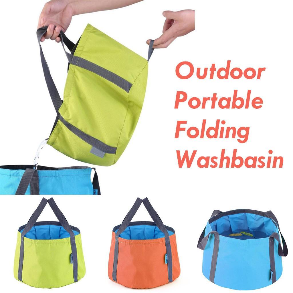 12L Camping Travel Washing Basin Bag Foldable Water Pot Pet Feed Sink Bucket