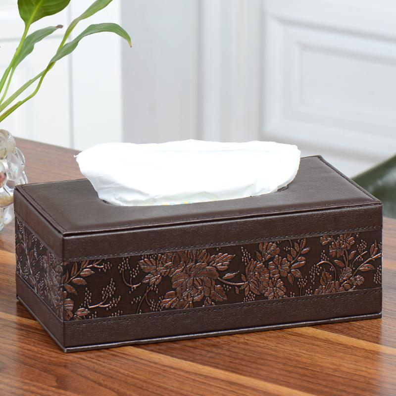 NATURAL BROWN Home Car Rectangle PU Leather Tissue Box Paper Holder Case Cover