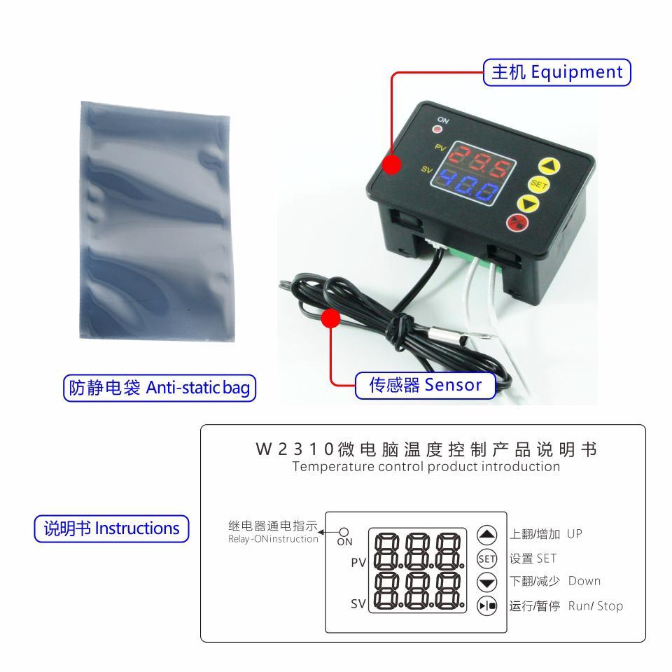 W2310 DC 12V//24V AC110V-220V Thermostat Temperature Controller NTC 10K Red+Blue