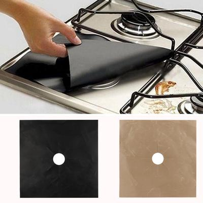 4PCS Kitchen Gas Stove Top Burner Reusable Protector Liner Cleaning Pad Cover