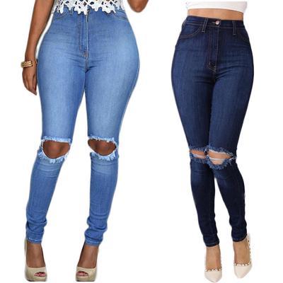 b650f16b963 Женщины карандаш стрейч случайные тощие брюки высокой талией брюки  отверстие джинсы