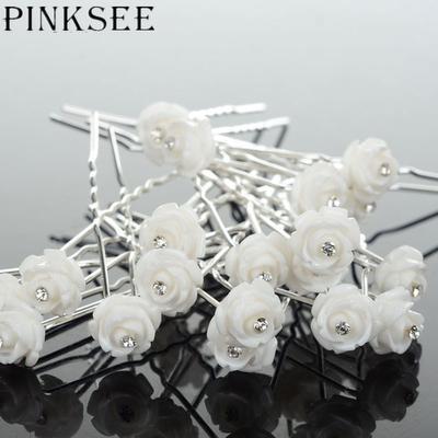 20PCS Elegant Bridal Wedding Hair Flower Pins Clips Headwear Women Jewelry  Accessories Wholesale 79f473c81ae0