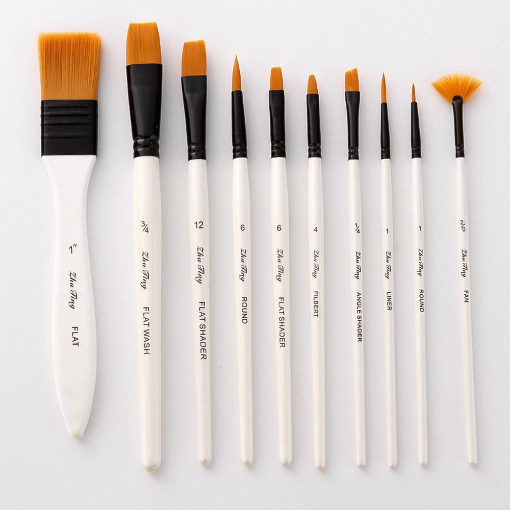 10PCS Watercolor Brush Set Gouache Paint Pens Acrylic Painting Nylon Wool Kit