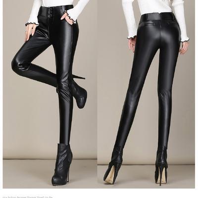 14061a47bbc9 Women Waist Stretch Winter Leather Pants 3XL Female Skinny Pencil Plus Size  Quality Trousers Ladies