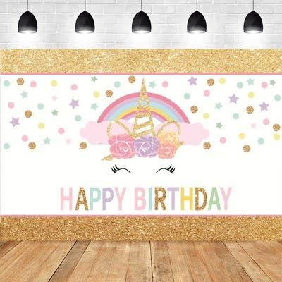 5*3ft Unicorn Kids Birthday Photo Party Backdrop Photography Background Prop