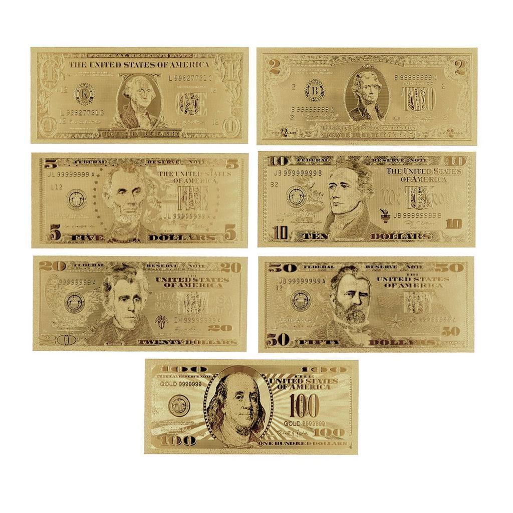 8ST/7PCS Goldfolie 100 Geschenke die Vereinigte staatliche US-Dollar ...