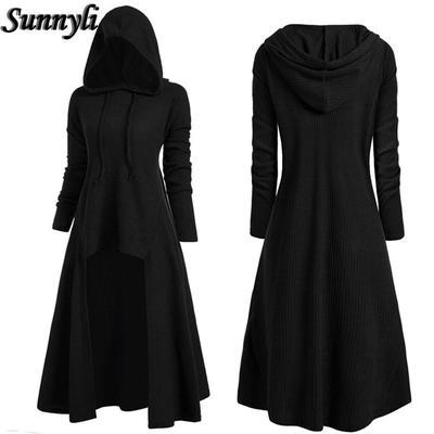 Womens Vintage Cloak Shirt Tops Plus Size Hooded Twinset High Low Punk T-Shirt Blouse