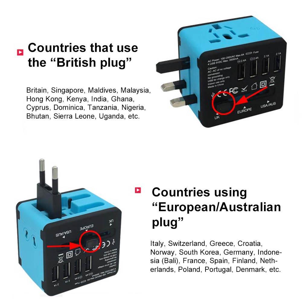 Global Worldwide Universal Multi-Function Travel Plug Adapter Universal Universal Travel Plug Adapter 4 USB Plug Adapter Socket Multi-Function Power Adapter Socket Converter WTA-608