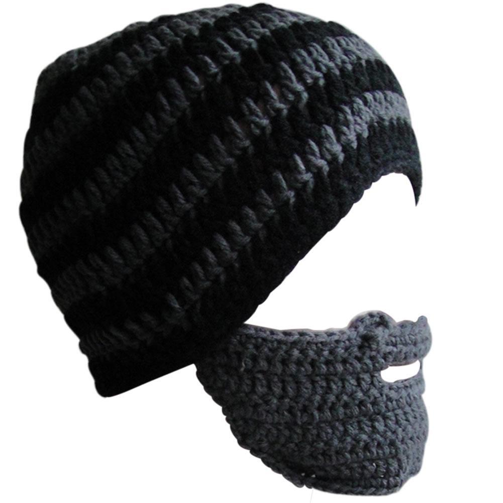 Strickmütze Mode Punk Bartmütze Häkeln Mütze Schnurrbart Warm Wintergesichtsmaske Ski Schneekappen