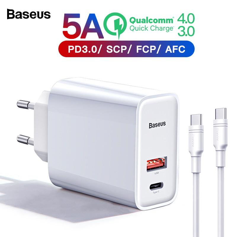 Baseus Quick Charge 4.0 3.0 USB Charger For iPhone Xiaomi Samsung Huawei SCP QC4.0 QC3.0 QC C PD Fast Wall Mobile Phone Charger