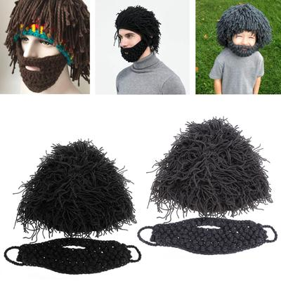 Winter Warm Beard Hat Moustache Cospaly Barbarian Looter Knit Crochet Beanie Cap