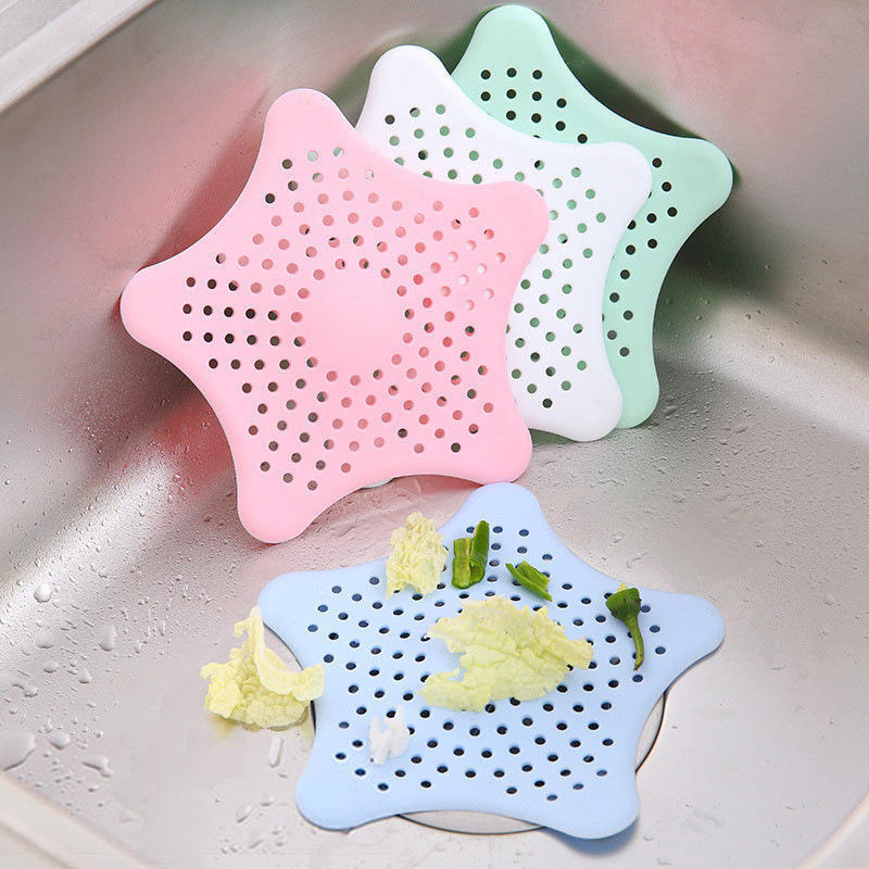 Star Silicone Waste Sink Strainer Hair Filter Drain Catcher Cover Good Item