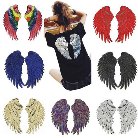 4 Pairs Large Gold Silver Angel Wing Feather Sequin Embroidered Iron On Patches