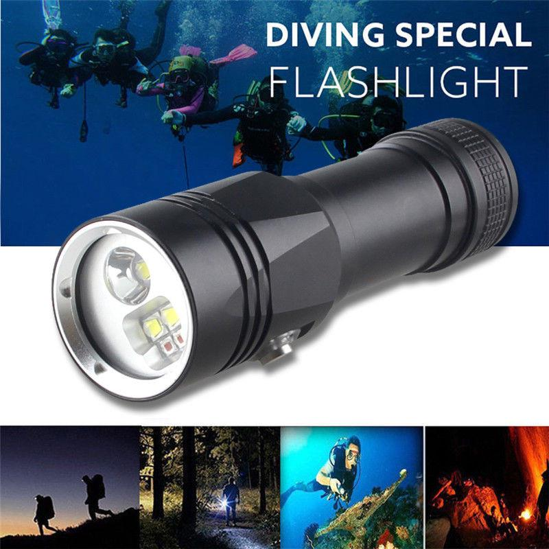 5000LM Scuba U2 White LED Diving Flashlight Torch Light 26650 Underwater 100m
