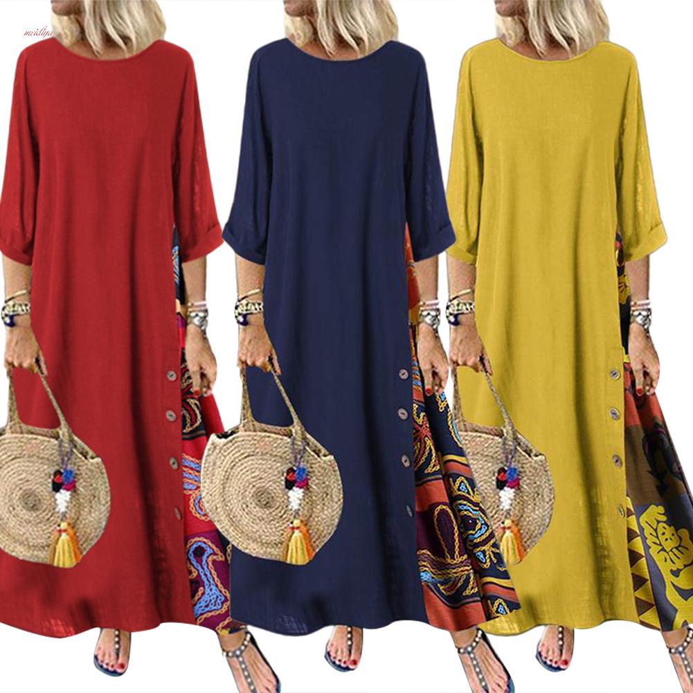 MDY плюс размер женское винтажное свободное длинное платье с цветочным принтом и круглым вырезом с рукавами 3/4 и боковыми пуговицами – купить по низким ценам в интернет-магазине Joom