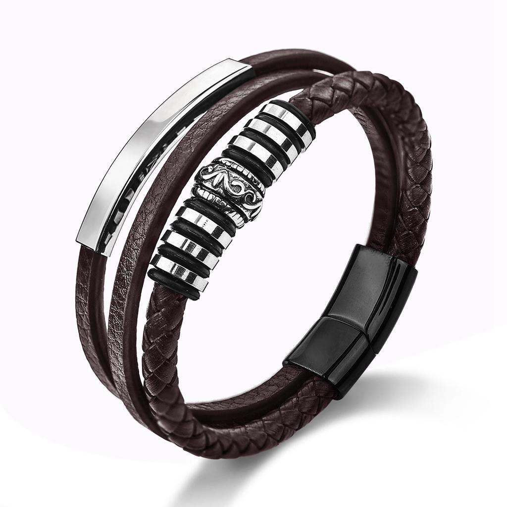Men Accessories Braided Leather Bracelet Jewelry For Party Gifts Cuff Wrap LH