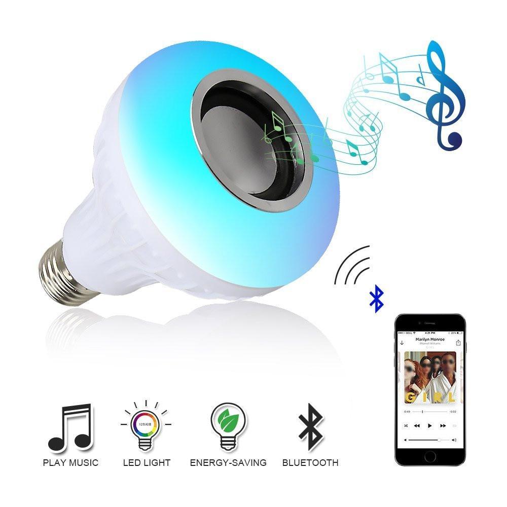 E27 смарт RGBW беспроводной Bluetooth выступавший лампы музыку света лампы затемняемый светодиодные лампочки фото