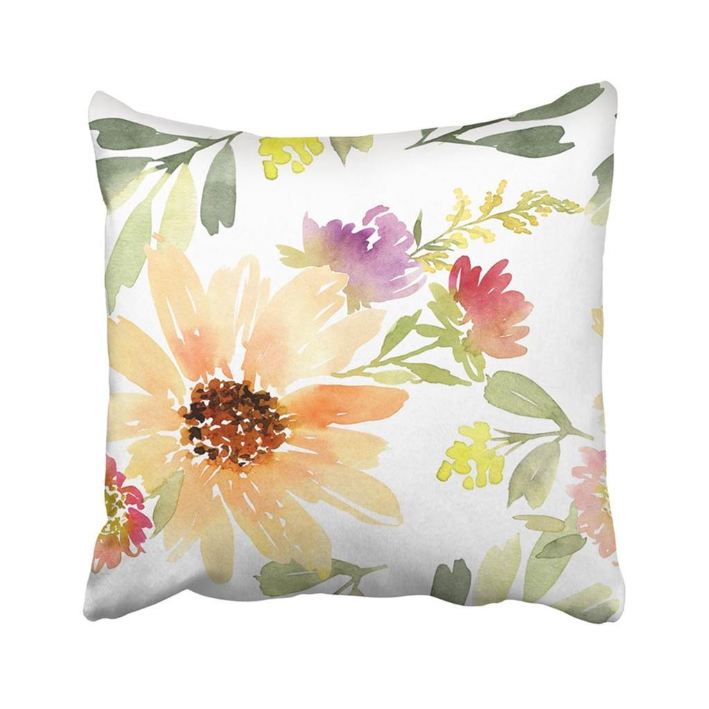 Bloom Flowers Pattern Watercolor Blossom Botany Bouquet Branch Drawing Field Floral Pillowcase Throw Pillow Cover 18x18inch 45x45cm Buy At A Low Prices On Joom E Commerce Platform