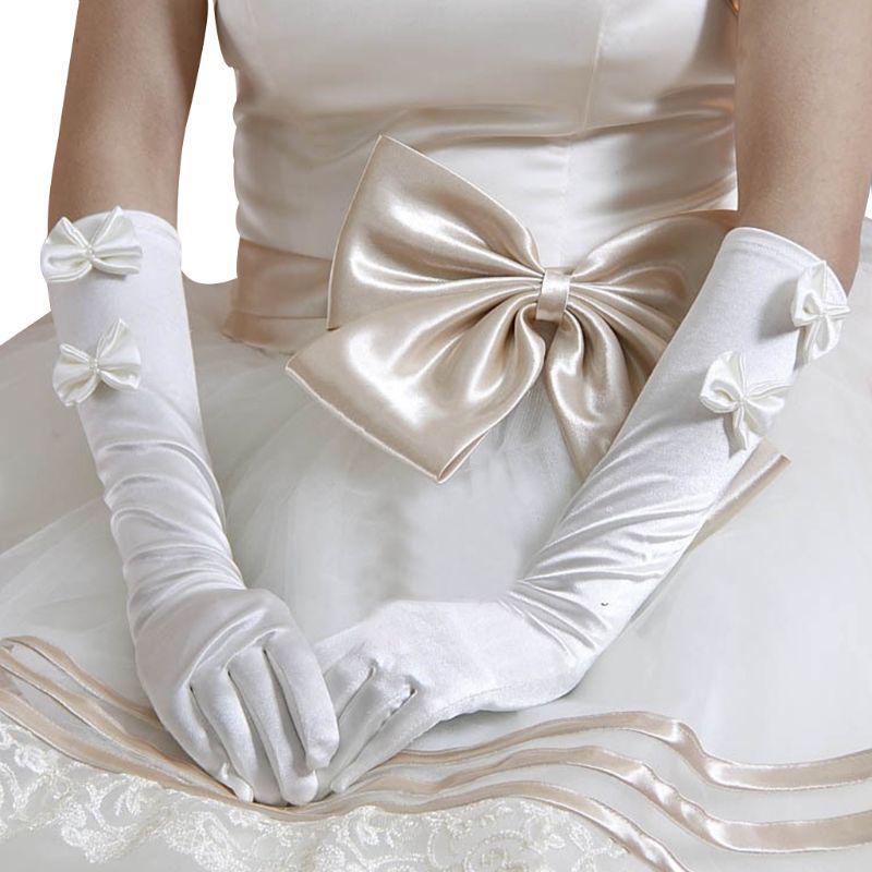 Flower Girls Princess Gloves/Stretch Satin Wedding Gloves Girls Solid Long Dress Gloves Full Fingers Prom Party Fancy Gloves