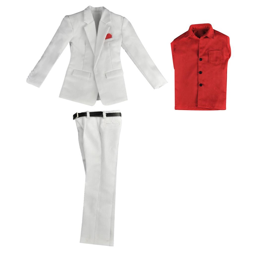 White Long Sleeve Dress Shirt Pants Belt 1//6 Scale 12/'/' Clothes Accessories