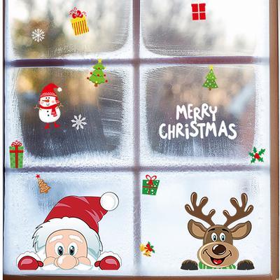 1PC Elk Christmas Stickers Home Decor Wall Stickers DIY Cartoon Window Stickers Santa Claus