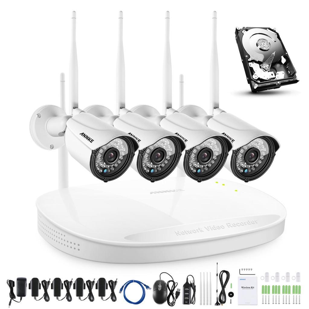 CCTV cameras annke 960P wifi home video monitoring system 4x 2MP IP camera