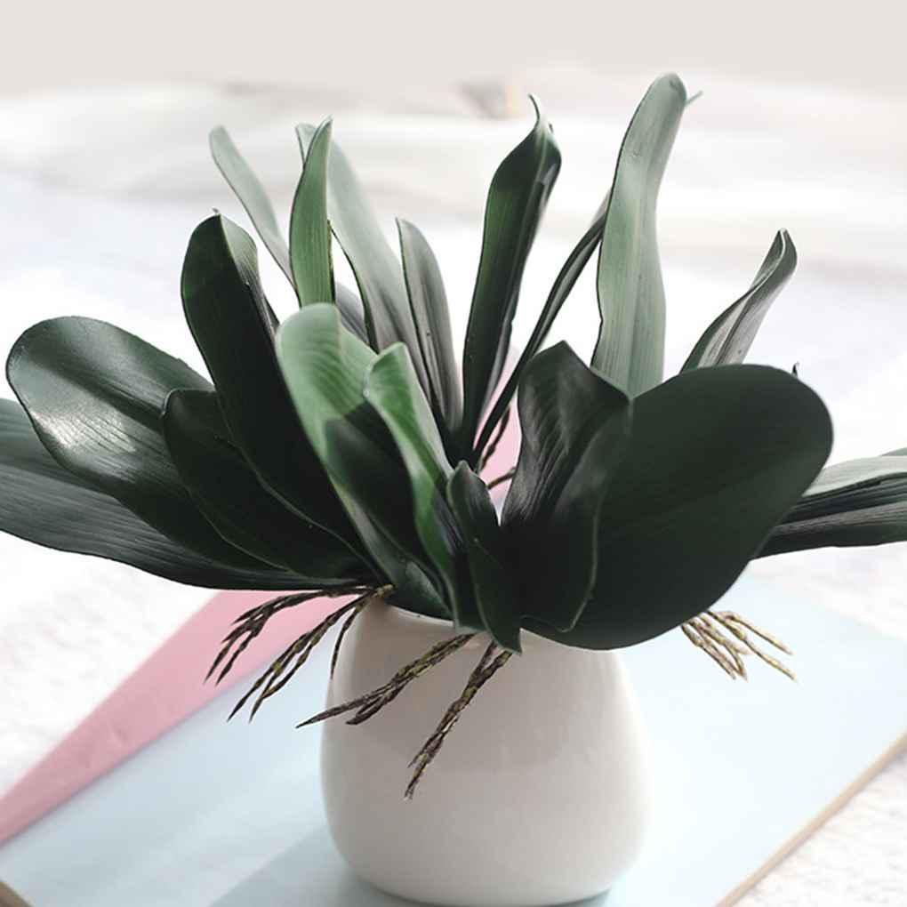 1 Branch Green Artificial Butterfly Orchid Leaf Simulation Grass Decor