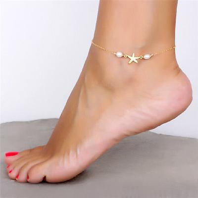 79d9d1c06479 Tobillo cadena hecha a mano reposapiés perla exquisita tobillera pulsera joyería  de playa