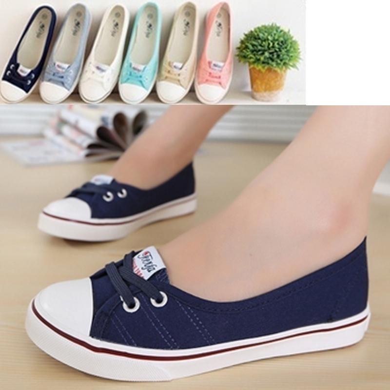 时尚休闲鞋子平底系带浅口女鞋学生韩版夏季透气新款帆布鞋