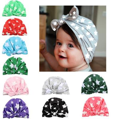 73bc23046ef3 Lovely Baby Hat Star Print Rabbit Ears Bowknot Caps Bohemian Boy ...
