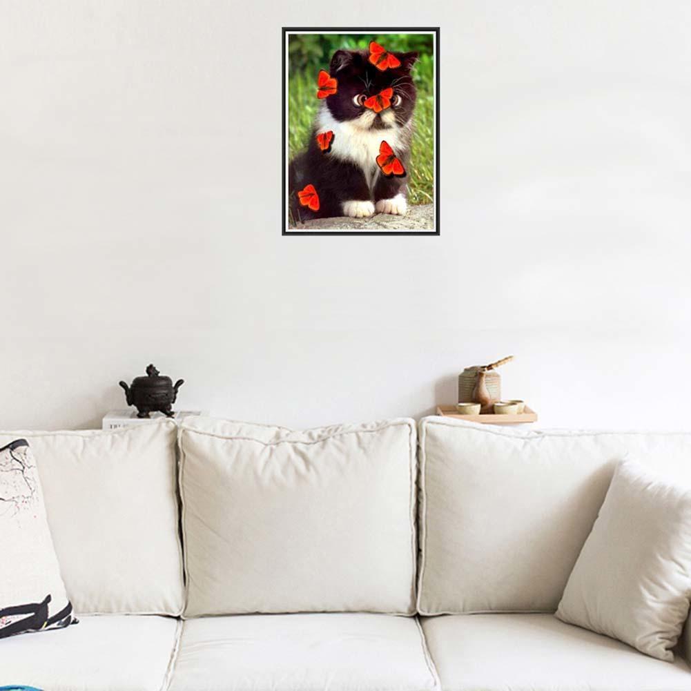 Parcial diamante pintura punto de Cruz mariposa amor gato bordado ...