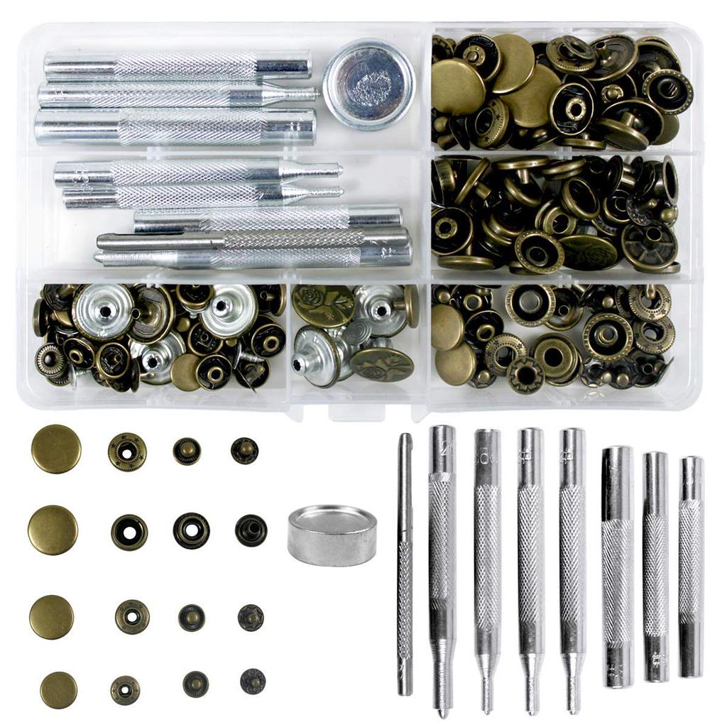 120 pcs//Set Rivets Single Cap Rivet Tubular Metal Studs Fixing Tools Kit Leather